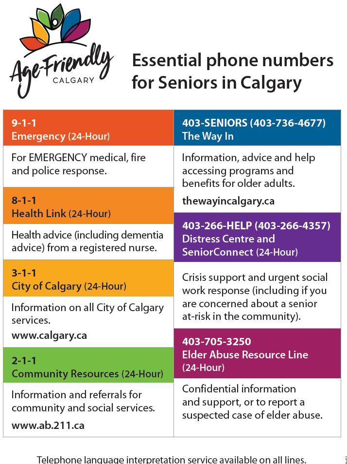 Age-Friendly Calgary – Essential phone numbers for Seniors in Calgary