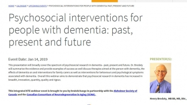 RECOMMENDED: brainXchange:  Upcoming Webinar – Psychosocial interventions for people with dementia