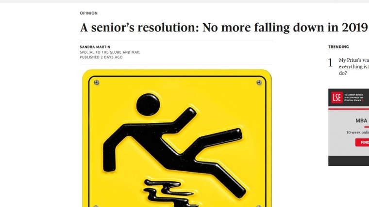 A senior's resolution: No more falling down in 2019 – From The Globe and Mail
